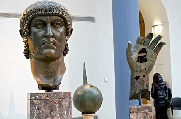 The head, hand and sphere from the colossal bronze statue of Constantine I in the Capitoline Museums in Rome (Andy Montgomery / flickr)