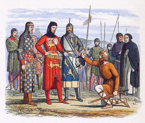 """The head of Piers Gaveston, 1st Earl of Cornwall, is delivered to Thomas, 2nd Earl of Lancaster; Humphrey de Bohun, 4th Earl of Hereford; and Edmund FitzAlan, 9th Earl of Arundel, for inspection. This was published in: Doyle, James William Edmund (1864) """"Edward II"""" in 'A Chronicle of England: B.C. 55 – A.D. 1485.' (Public Domain)"""