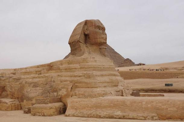 The head of the sphinx appears to be made from different material to the rest of the body, and does not show the same level of erosion as the rest of the body
