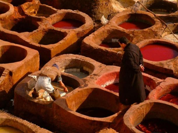 The hides can be sunk by hand into these vats, or a tanner can jump up and down on a pile of hides in the vats. (CC0)