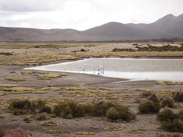 The high-altitude mountain tops and lagoons of Chile were highly-spiritualized and worshiped with deposits of 'textile clad' sacrificial mummies around 7000 years ago. (Public Domain).