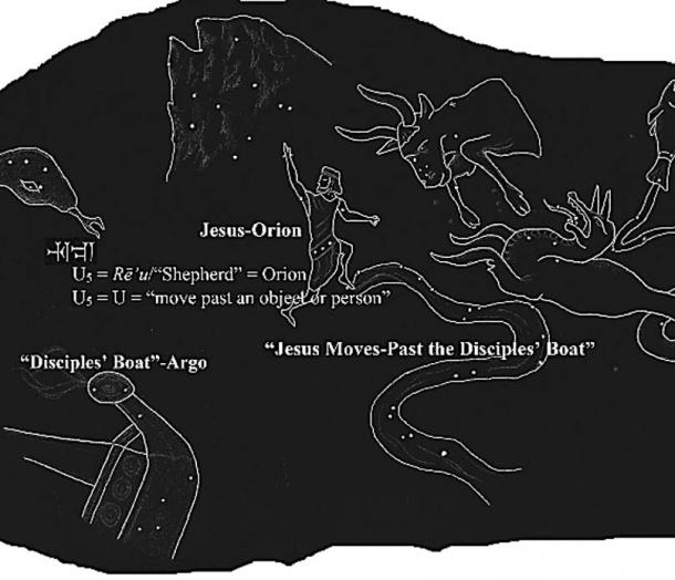 The illogical words of Mark 6:48 are etched as wordplay in the Sea-Walker constellation. (sketch: Ashely McCurdy)