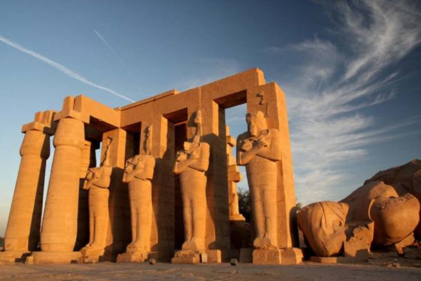 The imposing Ramesseum built by Ramesses II is a UNESCO World Heritage Site today. This memorial temple was originally called the House of Millions of Years of Usermaatra-setepenra. Pictured here are headless Osiride statues of the pharaoh. (CC BY 2.0)