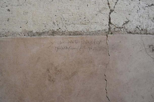 The inscription found in the 'House of the Garden' in Regio V of Pompeii. (Image: Parco Archeologico di Pompei)