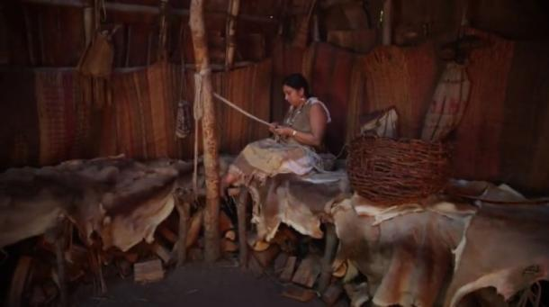 The interior of a wigwam or wetu, the living quarters of the Wampanoag people in earlier times. (Image: Youtube Screenshot)