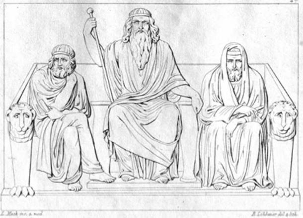 The judges of the dead, Minos, Aiakos (with the scepter), Rhadamanthys sit on the throne bench and question the shadows about their lives and their deeds. (Gerd Leibrock / Public Domain)