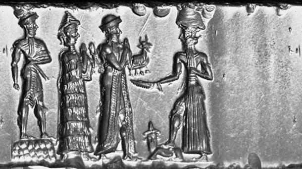 The king with a mace, who stands on a rectangular checked board dais, follows the suppliant goddess (with necklace counterweight), and the robed king with an animal offering. They stand before the ascending Sun god, Shamash, who holds a saw-toothed blade and rests his foot on a couchant human-headed bull.
