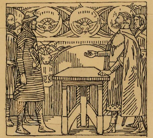 "The kings throw dice. ""Olav the Sacred Saga"" by Snorri Sturlason, King Saga, Kristiania 1899. (Nasjonalmuseet)"