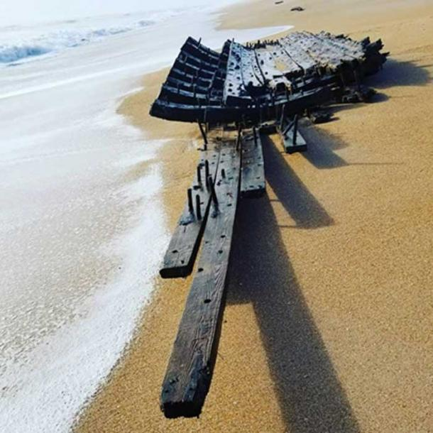 The large piece of debris was found washed ashore on a beach in Florida. (Source: St Johns County Sherrif's Office)