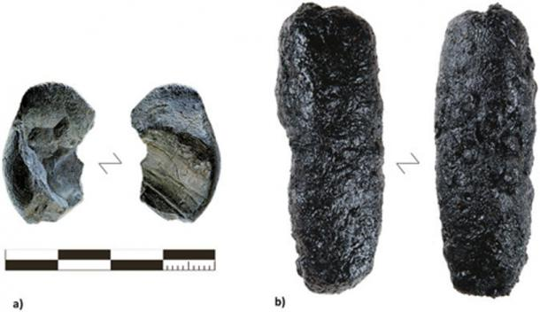 (A) The larger of two tar lumps found at Königsaue (photo credit: Landesamt für Denkmalpflege und Archäologie Sachsen-Anhalt, Juraj Lipták) compared with (B) the maximum yield of tar produced with the raised structure method (RS 7).