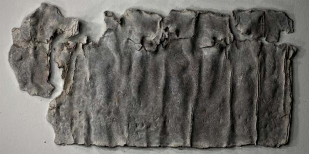 The lead curse scroll/tablet from Antioch. Source: Paula Artal-Isbrand used with permission of Alexander Hollmann