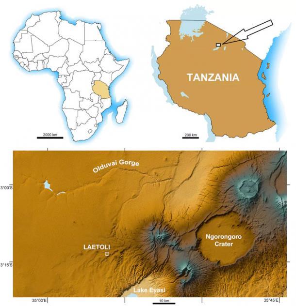 The location of Laetoli in Tanzania. (Marco Cherin)