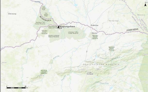 The location of Mapungubwe and K2 at the border between South Africa, Botswana and Zimbabwe (Image: A Antonites)