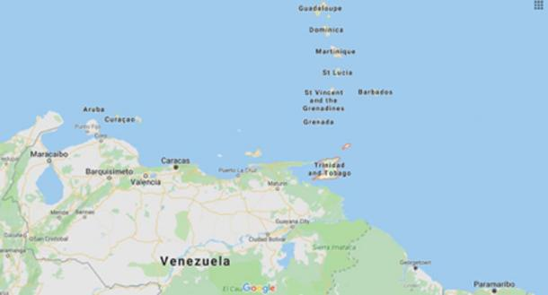 The location of Trinidad and Tobago (Google Maps)