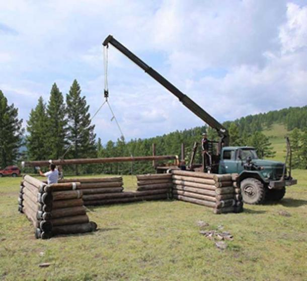 The log cabin was a recently reconstructed. (Nikita Konstantinov / Siberian Times)