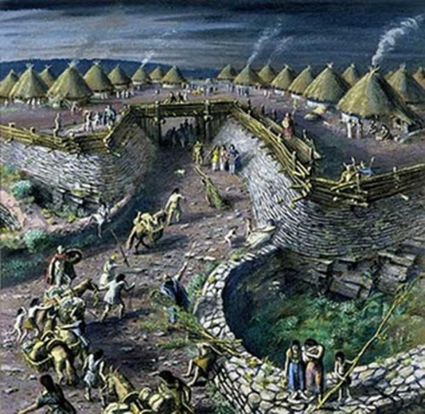 The main entrance to the Iron Age hillfort at Llanmelin, Monmouthshire by Alan Sorrell (1940). (CTS)