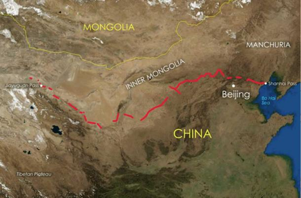 The main sections of the Great Wall that are still standing today. (NASA / CC BY-SA 3.0)