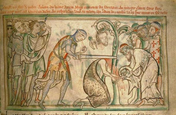 The martyrdom of St Alban, from a 13th-century manuscript, now in the Trinity College Library, Dublin. Note the executioner's eyes falling out of his head. (public domain)