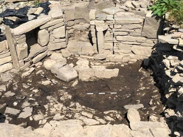 The metal workshop with anvil stones and hearth is likely 1500 years old. (Image: Swandro - Orkney Coastal Archaeology Trust)