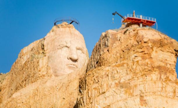 The monument to Crazy Horse in progress, picture taken 2016. (Thomas Hawk / CC BY-SA 2.0)
