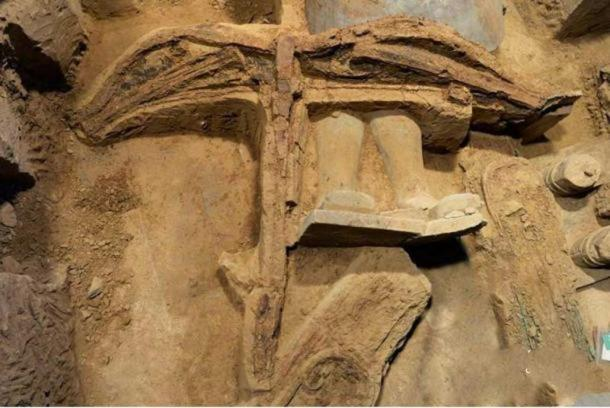 The most complete ancient crossbow to date was discovered in the terracotta army pit one in Xi'an, Shaanxi province. Credit: Chinanews.com