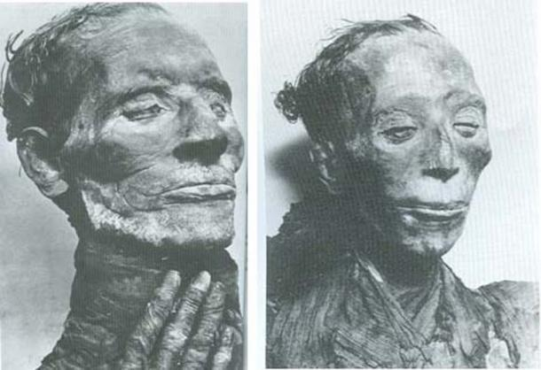 The mummies of Yuya (left), and to the right, Tuya. (Creative Commons Fair Use)