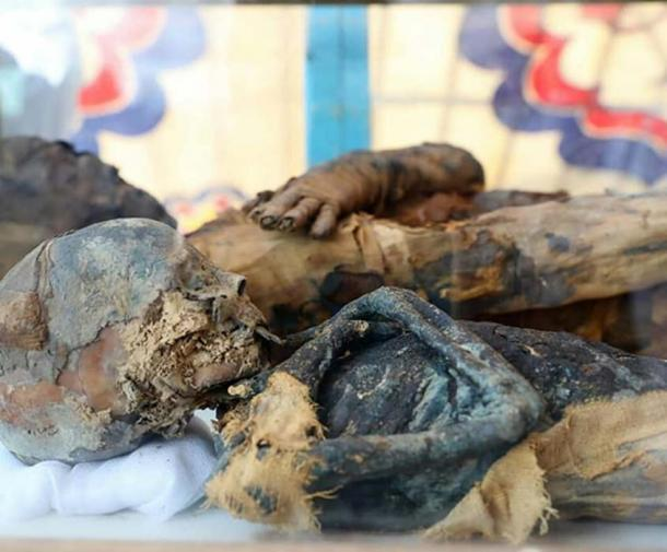 The mummified remains of the woman and boy found in the tomb. Credit: Ministry of Antiquities