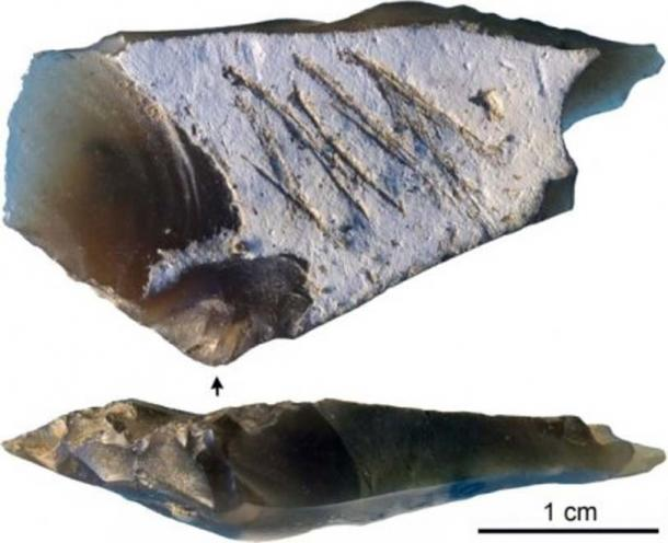 The new methodology hopes to establish the causal actions of such markings as found on this flint from Kiik Koba. Image: Majkic et al (2018)/ (CC BY 4.0)