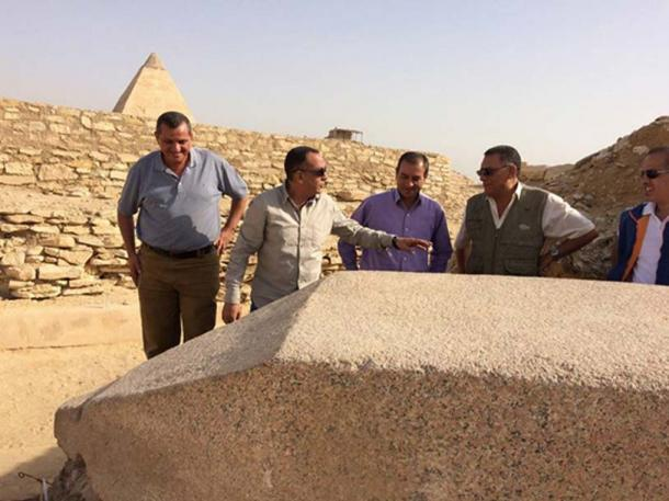 The newly-discovered obelisk in Cairo, dedicated to an Old Kingdom Queen. Credit: Ministry of Antiquities
