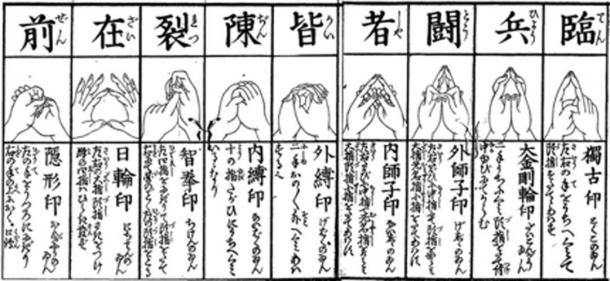 The nine cuts of Kuji-in used in Onmyōdō. (うぃき野郎 / Public Domain)