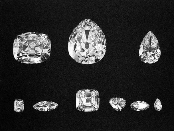 The nine major stones. Top: Cullinans II, I, and III. Bottom: Cullinans VIII, VI, IV, V, VII and IX.