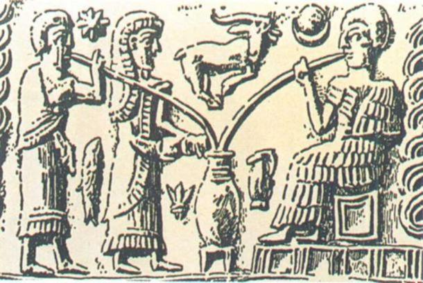 The oldest depiction of beer-drinking shows people sipping from a communal vessel through reed straws. ( Brauerstern)