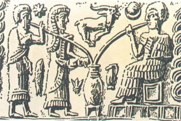 The oldest depiction of beer-drinking shows people sipping from a communal vessel through reed straws. (Brauerstern)