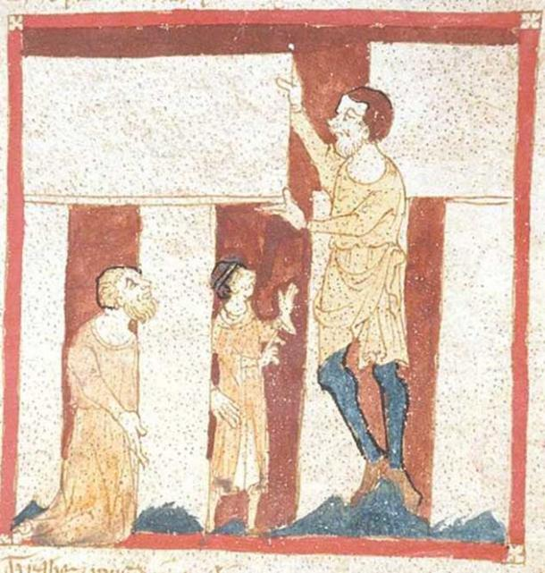 The oldest known depiction of Stonehenge, a giant helps Merlin build Stonehenge. From a manuscript of the Brut by Wace in the British Library. (Public Domain)
