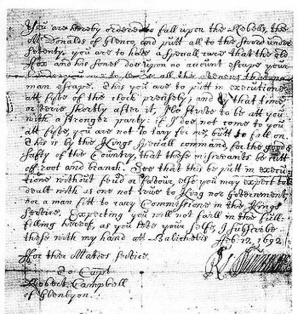 The orders via Duncanson to Robert Cambell to execute the MacDonalds clan.