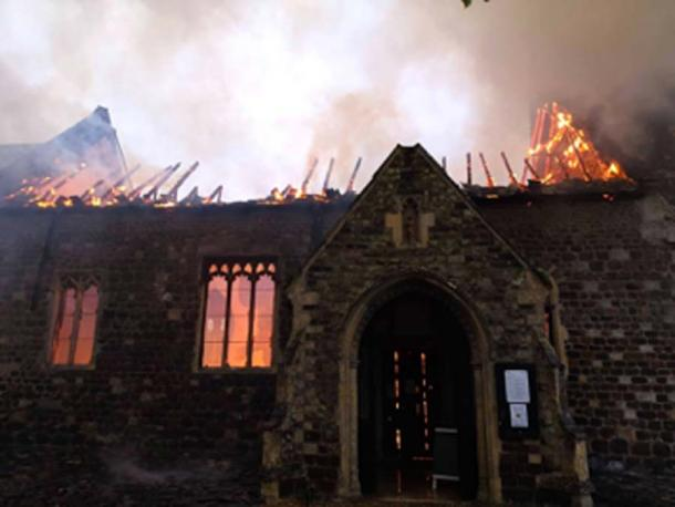 The ornate interior of the medieval church was gutted by the fire. (Norfolk Fire & Rescue Service / Facebook)