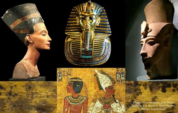 (From left) The painted bust of Queen Nefertiti (Berlin Museum/ Jean-Pierre Dalbéra/CC BY 2.0); Tutankhamun's golden mask (Cairo Museum/Mark Fisher/CC BY-SA 2.0); remnants of a colossal sculpture of Akhenaten discovered at Karnak (Luxor Museum); funerary scenes on the north wall of KV62 and (Background) close-up of the ubiquitous fungoid spots in the tomb.