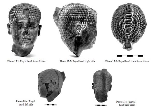 """The pharaoh's head artifact found at Hazor. Image from """"Hazor VII: The 1990-2012 Excavations, the Bronze Age"""" (p. 576)"""