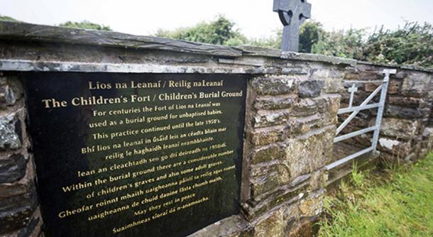 he plaque at the Children's Fort / Children's Burial Ground, Tullycrine, West Clare, Ireland