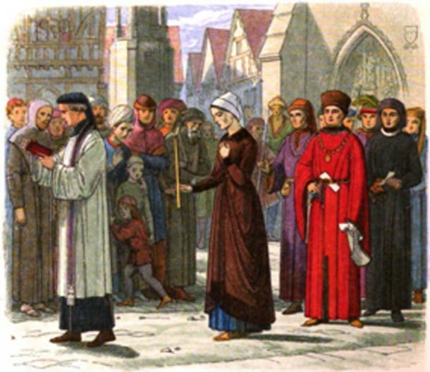 The public penance of Eleanor Cobham. Eleanor was accused of using magic against the king. (Jappalang / Public Domain)