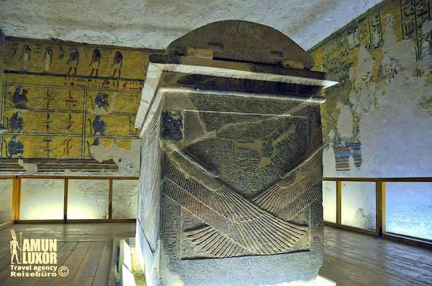 """The reconstructed sarcophagus of King Aye rests in the burial chamber of his tomb. Western Valley of the Kings (WV23). J.G. Wilkinson described what he saw: """"Contains a broken sarcophagus and some bad fresco painting of peculiarly short and graceless proportions"""". (Photo: Daniel Beck/Amun-Luxor)"""