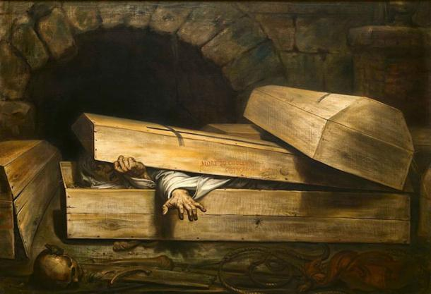 """The recovery of supposedly dead victims of cholera, as depicted in """"The Premature Burial"""" by Antoine Wiertz, helped fuel the demand for safety coffins. Source: Alonso de Mendoza / Public Domain."""
