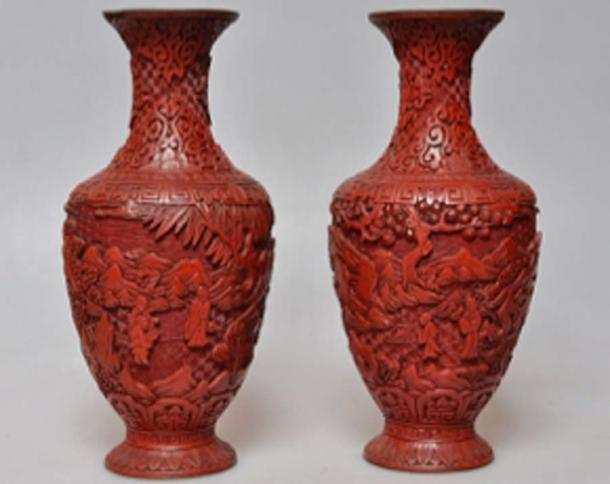 The red pigment cinnabar was used in this Chinese carved lacquerware, from the late Qing dynasty. (Danieliness / CC BY-SA 4.0)