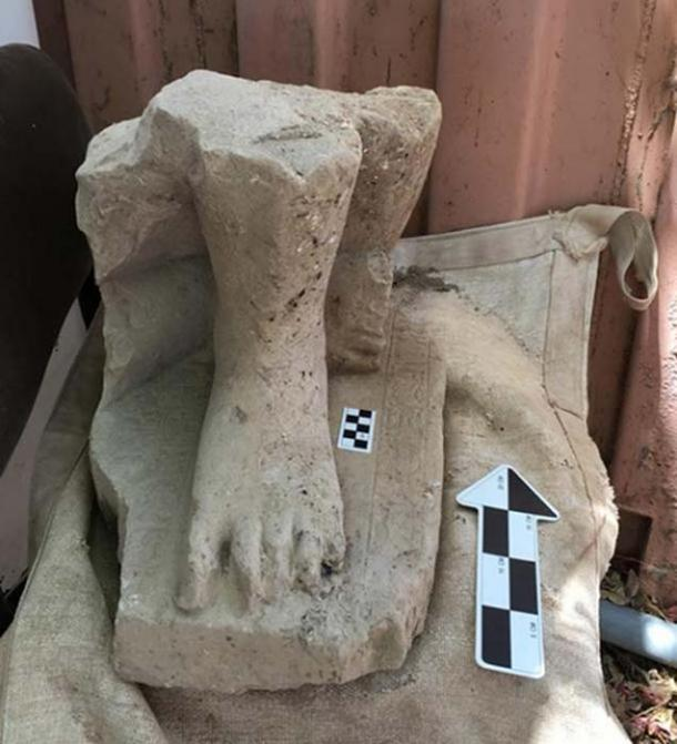 The remains of a monumental Egyptian statute of a high official from the Middle Kingdom in Egypt, found in the administrative palace at Hazor, north of the Sea of Galilee in Israel.