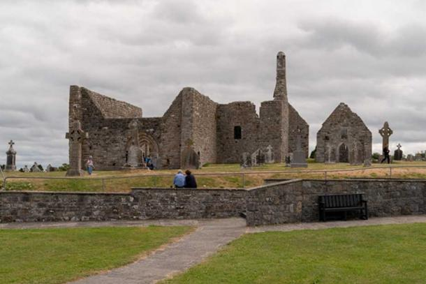 The remains of the cathedral at Clonmacnoise