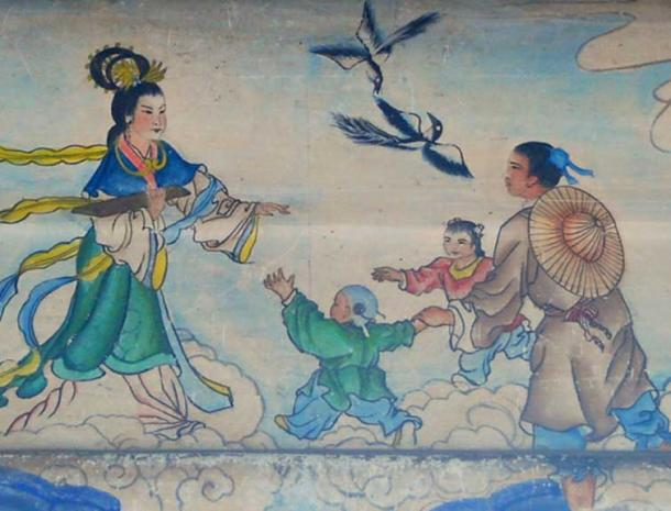 The reunion of the couple of The Weaver Girl and the Cowherd on the bridge of magpies. Artwork in the Long Corridor of the Summer Palace in Beijing