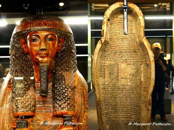 The richly decorated front and text-filled inside of the coffin of Butehamun, scribe of the royal necropolis. Third Intermediate Period, 21st Dynasty. Museo Egizio, Turin, Italy. (Images courtesy of Margaret Patterson)