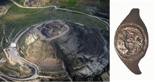 The ring (right) was found at Herod's fortress excavations 50 years ago. (Left; Public Domain . Right; C. Amit, via Hebrew University)