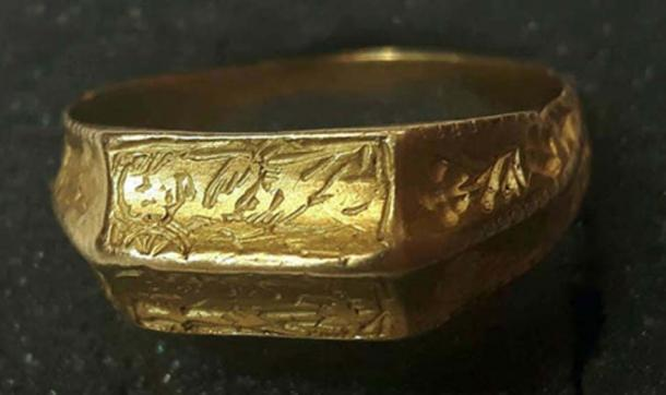 The ring, engraved with St George, was found in a field near in Yorkshire. Source: Hansons Auctioneers