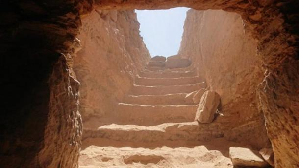 The rock-cut tomb containing more than 30 mummies at the Aga Khan Mausoleum area on Aswan West Bank in Egypt. Credit: Ministry of Antiquities